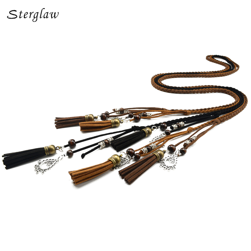 170cm vintage braided rope pu waist belts for women roupa feminina 2017 designer Harness for female leather on the body J112(China)