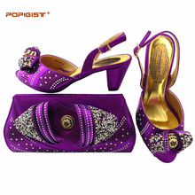 Purple Latest Italian Ladies Shoes and Bag Set Decorated with Rhinestone African Women Italian Shoes and Bag Set Italy Shoe