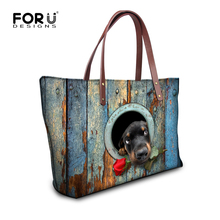 FORUDESIGNS Women Fashion Handbag Animal Rose Dog Printing Shoulder Bag Large Tote Ladies Bag Casual High Quatity Shoulder Bags(China)