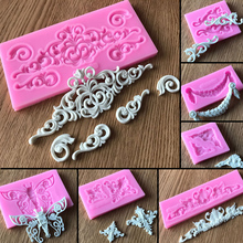 Lace Pattern Border Decor Silicone Cake Mold Retro Roma Relief Decorative Chocolate Tool Lace Flower Vine Pattern Baking Tool