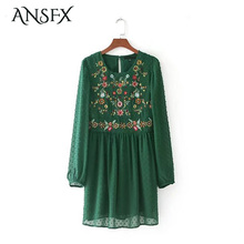 ANSFX Vintage Ethnic Women Floral Pattern Embroidery Dress Long Sleeve O-Neck Hollow Out Backless Loose Pleated Mini Dress New(China)
