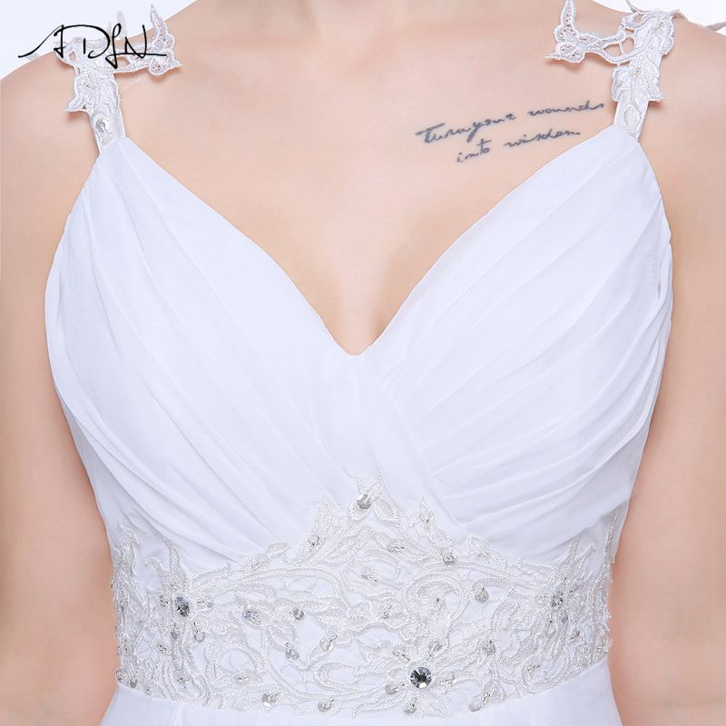 ADLN Real Wedding Dresses In Stock Plus Size Spaghetti Straps Chiffon Bridal Gowns Vestidos De Noiva with Lace Up Back 8