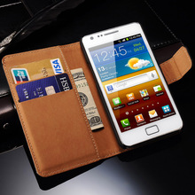 Genuine Leather Case for Samsung Galaxy S2 I9100 SII Flip Style Luxury Mobile Phone Back Cover with Card Slot Black