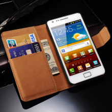 Genuine Leather Case for Samsung Galaxy S2 I9100 SII Flip Style Luxury Mobile Phone Back Cover with Card Slot Black(China)