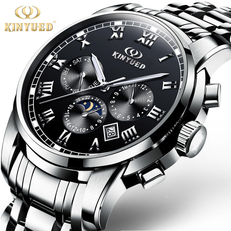 KINYUED Luxury Men Black Business Watch New Fashion Multifunctional Casual Clock Hour Male Full Steel Mechanical Wristwatch Gift<br>