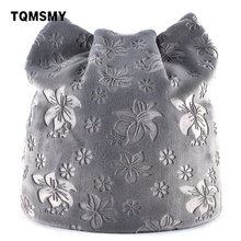 TQMSMY Autumn Warm Winter Hat For Women Cat Ears Skullies Beanie Hats with Ear Flaps Caps Ladies Flower printing Beanies TMDH07