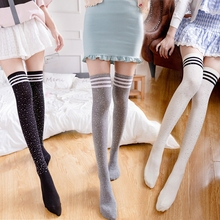 Women Girls Cute Fashion Cotton Long Tube Calf Over Knee Leg Length Crew Socks Three Stripes Print 2017 Campus Comfortable New(China)