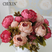 HIGHT Quality silk flower European 1 Bouquet Artificial Flowers Fall Vivid Peony Fake Leaf Wedding Home Party Decoration(China)