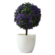 Artificial plants ball bonsai can washes decorative green plants for home decoration( plants+vase)(purple)