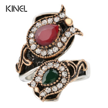 From India Vintage Wedding Rings For Women Color Antique Gold Unique Crystal Resin Big Ring Women's Jewellery Christmas Gift(China)