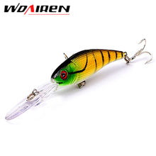WDAIREN 1Pcs 10cm 7.8g Fishing Lure Minnow Hard Bait with 2 Fishing Hooks Fishing Tackle Lure 3D Eyes Crankbait Minnows YR-209