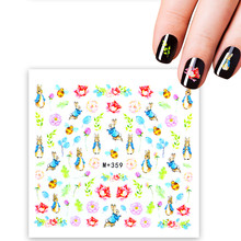 1 Sheet Nail Art Water Transfer Beauty Rabbit Designs Nail Sticker Nail Decorations for Manicure Patch DIY