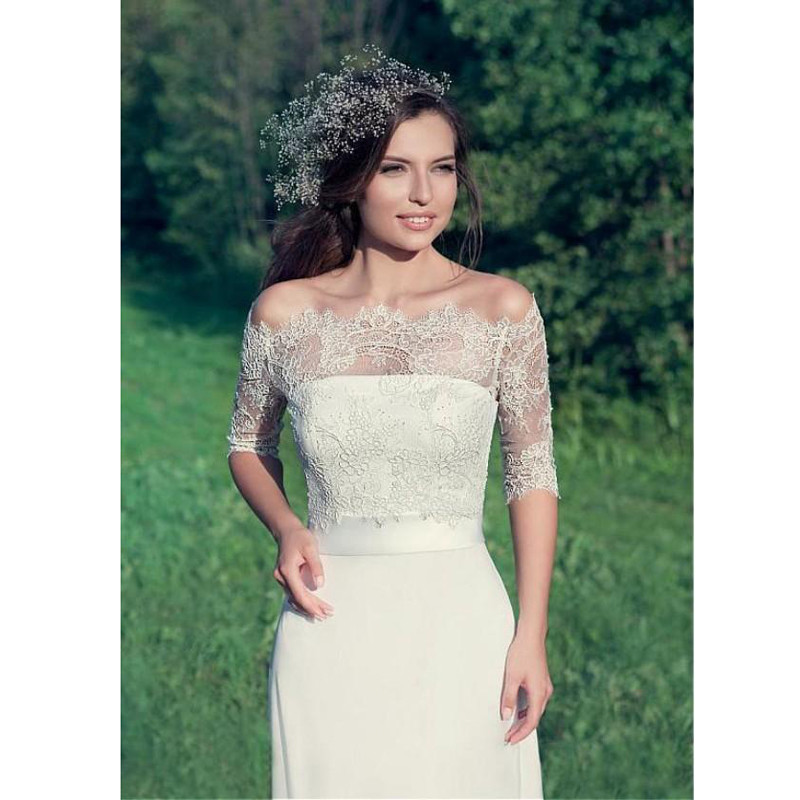 Simple Elegant Country Style Wedding Dresses 2016 Sheath Strapless Bridal Gownswith Sash Sheer Romantic Lace Jacket Illusion Sleeves