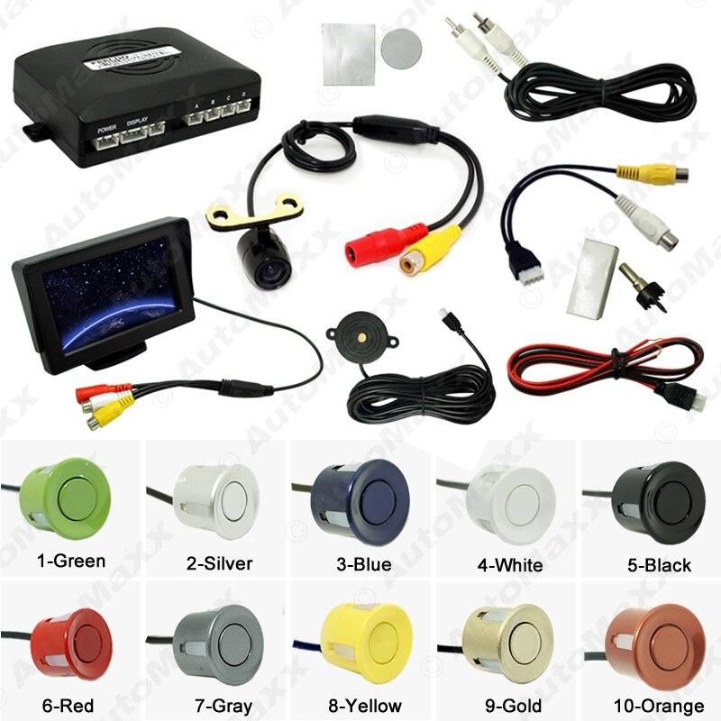 Car 4.3 LCD Monitor 4-sensor Parking Sensor 16.5mm Mini CCD Camera Reversing Rearview Parking System #J-962<br><br>Aliexpress