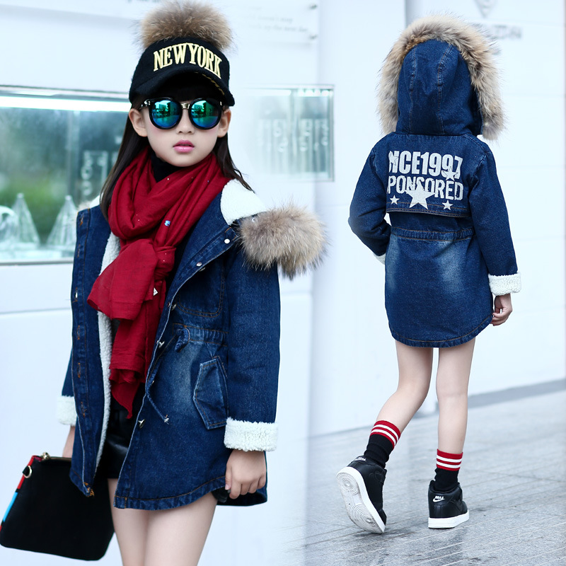 fur hooded long girl outerwear demin coat clothes teenage girls kids tops jeans jackets girls winter 2016 kids fur coat clothing<br><br>Aliexpress