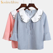 2017 spring summer women strip shirts flare sleeve Chiffon ladies blouse tops women loose cat embroidery collar office OL blouse