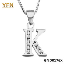 "YFN 2016 New Fashion Genuine 925 Sterling Silver Initial Necklace Personalized Letter K Necklace Inlaid with CZ ""King""(China)"