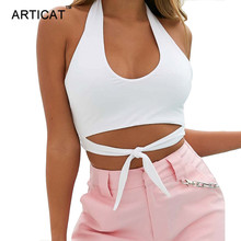 Buy Articat Solid Bow Tie Summer Shirt Camisole Women Tank Tops 2018 Sexy Halter Shoulder Wrap Sheath Backless White Crop Tops