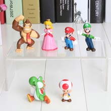 6pcs/set Super Mario Bros Mario Luigi Peach Yoshi King Kong Toad Action Figure PVC Toys 4-6cm Kids Gifts