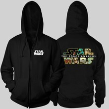 Font Logo Star Wars The Force Awakens couple clothes man cotton full zip hooded Jackets