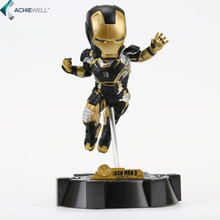 Sale Brand Iron Man 3 Action Figure Gold Black Armor With Flash Light and Bottom Plate Ironman Super Hero Gift(China)