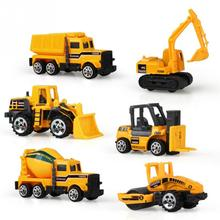 6pcs/set Mini Car Toys Excavator Tractor Crane Diecasts Big Truck Vehicles Models Classic Cars Children Kids Toys(China)
