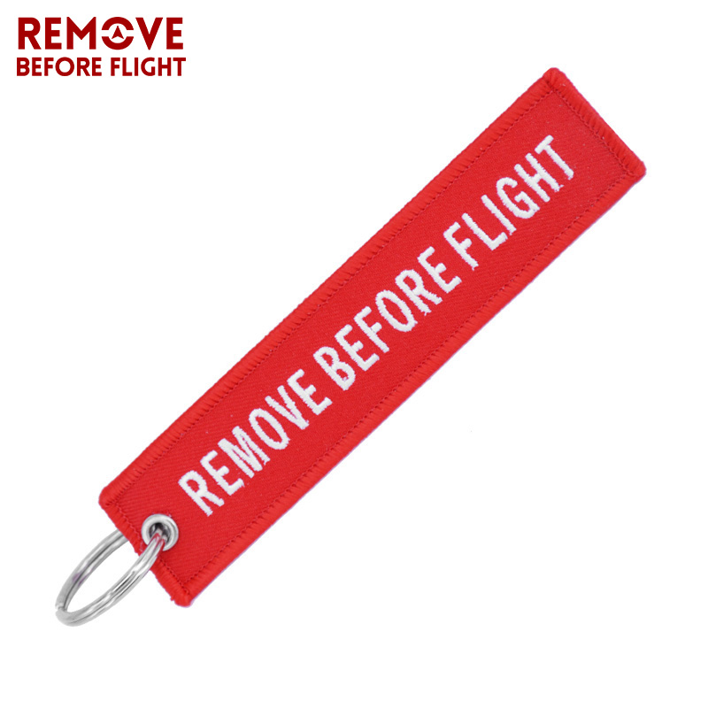 Remove Before Flight Key Chain Chaveiro Red Embroidery Keychain Ring for Aviation Gifts OEM Key Ring Jewelry Luggage Tag Key Fob d