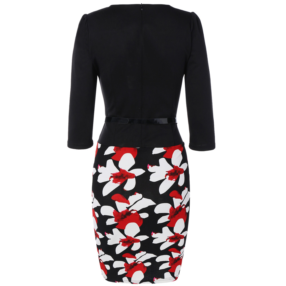 VESTLINDA Pencil Office Dress 5 Colors Plus Size Jacket Look Floral Print Women Vestidos Mujer Jurken Robe Slim Bodycon Dresses 15