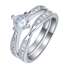 2017 women wedding ring Rhodium plated paved cz zircon white color Princess Cut cheap lady gift vintage Engagement Ring Set