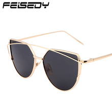 FEISEDY Fashion Vintage Mirror Sunglasses Women Metal Reflective Cat Eye Sun Glasses For Women Brand Design(China)