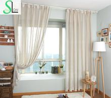 Modern Era American Country Style Color Woven Fabric With Hemp Netting French Window Curtain Pastoral Curtains Living Room Tulle(China)