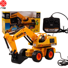 Boy toys 4CH Children electric Wire control excavator Vehicle baby toy 4 channel Simulation Engineering truck bulldozer Toy 9902(China)