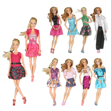 Handmade Girl Doll Mini Dress for Barbie Doll Dress Slim Clothes Dress Up Toy for Kids Birthday Gift Mixed Style 10PCS