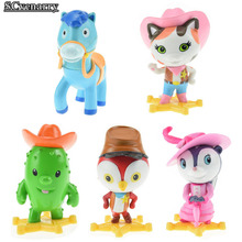 Anime Sheriff Callie's Wild West Toy Sheriff Callie Cat Toby Horse Peck PVC Action Figure Dolls Gift 7cm 5pcs/lot Free Shipping
