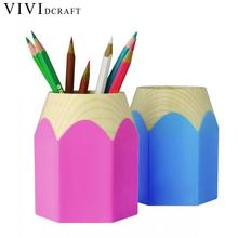 Vividcraft Office Accessories Kawaii Large Capacity Plastic Pen Holder Desk Accessories Pencil Holder for Kids Papelaria Caneta(China)