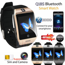 NFC Bluetooth Smart Watch Q18 With Camera facebook Sync SMS MP3 Smartwatch Support Sim TF card For IOS Android Phone pk gt08