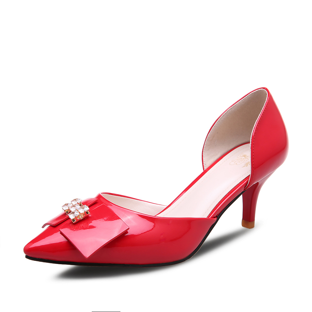 Red Wedding Shoes Fashion Bowtie Women Pumps Sexy Pointed Toe high-heeled sandal Party Dress Shoes Woman Big size 34-40<br><br>Aliexpress