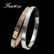 FANHUA New Silver Color And Rose Gold Color Concise Bracelets for Women and Bangles With Rhinestone Bijuterias For Women