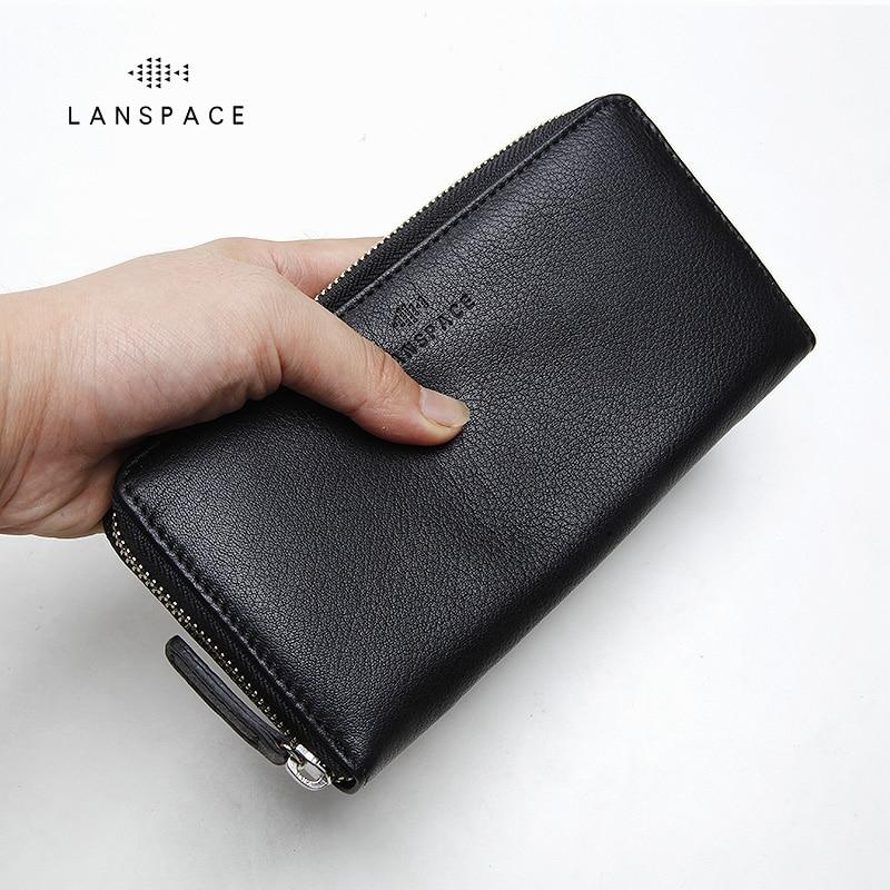 LANSPACE genuine leather purse famous brand coin purses holders fashion men wallets<br>