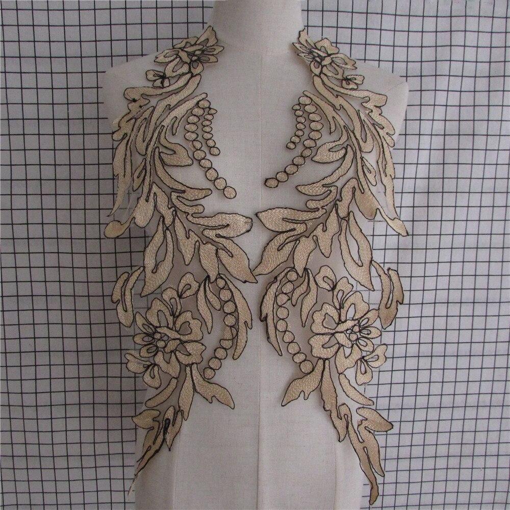 1PCS Embroidered Gold Floral Lace Venise Venice Collar Neckline Motif Applique