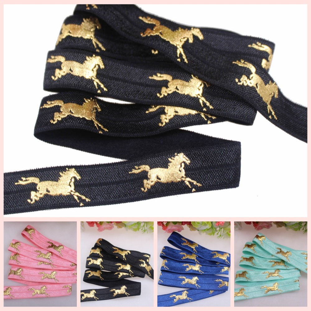New!! 5colors Gold foil Running Horse fold over elastic,beautiful gold horse FOE elastic ribbon for accessaries, welcome custom(China (Mainland))