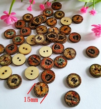 50 PCS/set DIY Novelty Retro print 2 Holes 15mm Clothes Wood Sewing Button Scrapbooking Knopf Buttons Sewing Accessories(China)