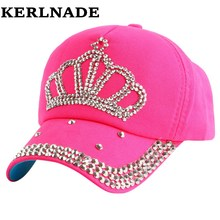 High Quality new fashion rhinestone crystal crown children baseball caps brand popular beauty snapbacks hats for boy girls child(China)