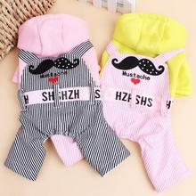 New Listing Fashion Pet Dog Clothes Winter Mustache Loving Hooded Dog Coat Autumn Winter Small Dog Jumpsuit Pink Pet Clothing