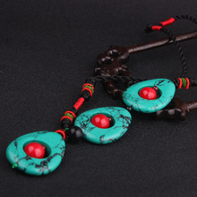 DIY Ethnic Jewelry stones choker vintage pendants necklace blue,fashion handmade weave kniting statement necklace(China)