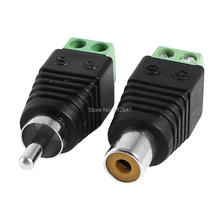 Coax Cat5 Cat6 to RCA Female Male CCTV Camera Audio Balun Adapter Connector 2 Pcs(China)