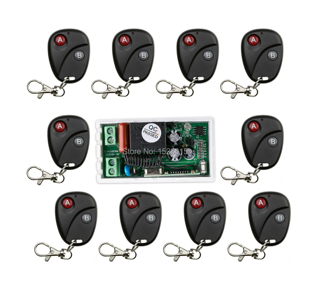 High Quality new AC220V 10A 1CH 1Channe RF wireless remote control switch System, 10X Transmitter + 1 X Receiver,315/433 MHZ<br>