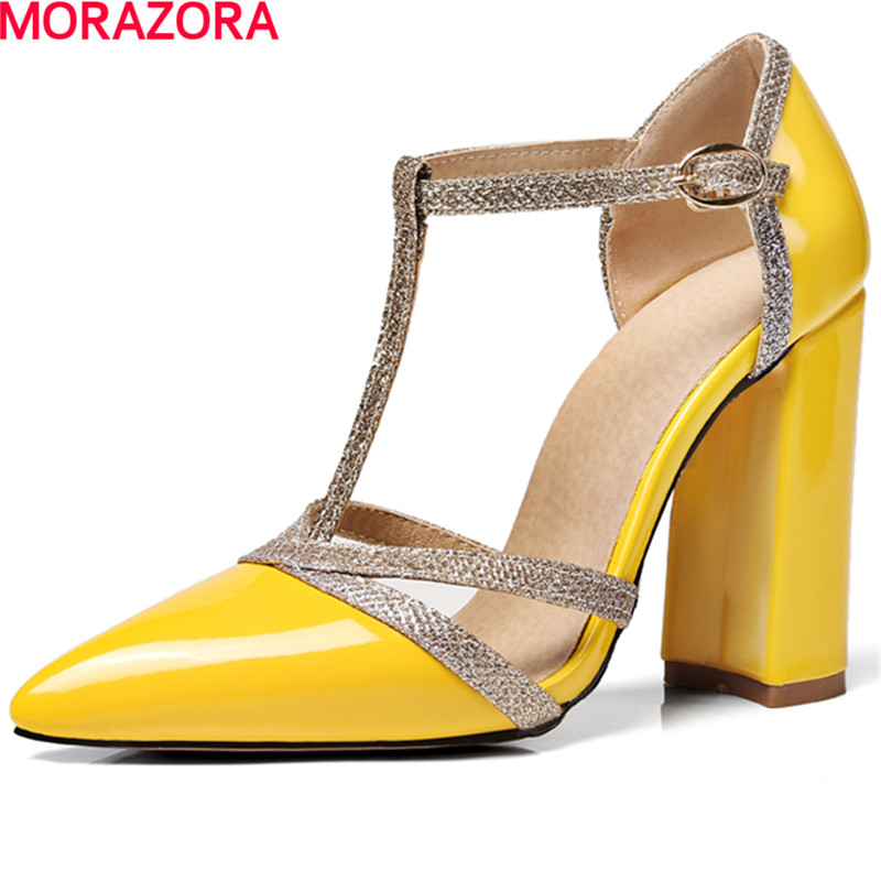 MORAZORA hot sale pointed toe shallow single shoes high heels party shoes pumps solid fashion shoes four seasons big size 34-46 <br>