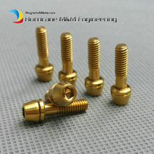 Bike Ti Bolt M4x15 for Ritchey C260 Stem Titanium bolts Washer Gr.5 Gold Color Cone Head Hexagon screw Ti fastener