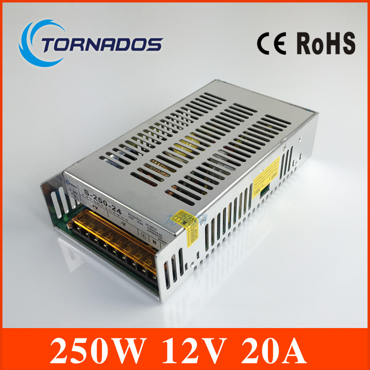 240W 12V 20A Single Output Switching power supply adjustable for Monitor Display LED Strip light AC-DC transformer 12v S-250-12<br>